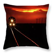Scenic View Of An Approaching Trrain Near Sunset Throw Pillow