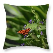 Scenic View Of An Orange Oak Tiger Butterfly Throw Pillow