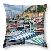 Scenic View Of Castle Hill And Marina In Nice, France Throw Pillow