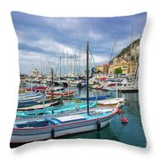 Scenic View Of Historical Marina In Nice, France Throw Pillow