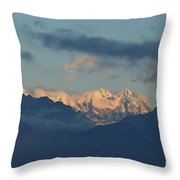 Scenic View Of The Dolomite Mountains With Snow  Throw Pillow