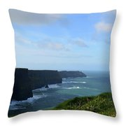 Scenic Views Of Ireland's Cliff's Of Moher In County Clare Throw Pillow