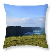 Scenic Views Of The Cliff's Of Moher In Ireland Throw Pillow