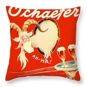 Schaefer Beer Vintage Ad Throw Pillow