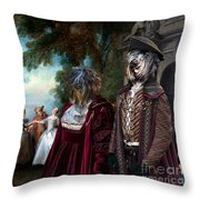 Schapendoes Art Canvas Print - Dance Before A Fountain Throw Pillow