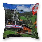 Schilthorn Cable Car Murren Throw Pillow