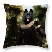 Schipperke Art Canvas Print - Forest Landscape With A Hunter And Noble Lady Throw Pillow