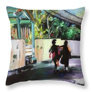 School Day In Hope Town Throw Pillow