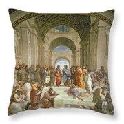 School Of Athens From The Stanza Della Segnatura Throw Pillow