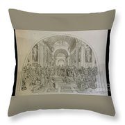 School Of Athens/ Homage To Raphael Throw Pillow