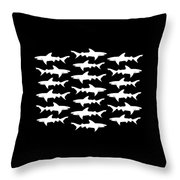 School Of Sharks Black And White Throw Pillow