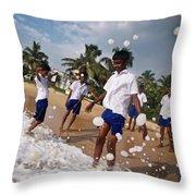 School Trip To Beach IIi Throw Pillow