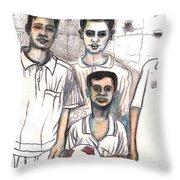 Schoolyard Chums Throw Pillow by Al Goldfarb