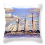 Schooner Mystic Under Sail Throw Pillow