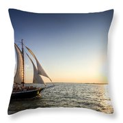 Schooner Welcome Sunset Charleston Sc Throw Pillow