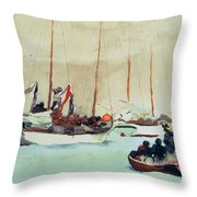 Schooners At Anchor In Key West Throw Pillow