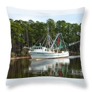 Schrimp Boat On Icw Throw Pillow