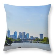 Schuylkill River Panorama - Philadelphia Throw Pillow