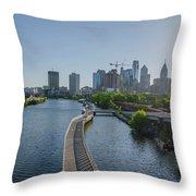 schuylkill River Walk from South Street Bridge Throw Pillow