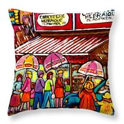 Schwartz's Deli Rainy Day Line-up Umbrella Paintings Montreal Memories April Showers Carole Spandau  Throw Pillow