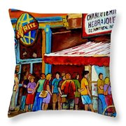 Schwartzs Lineup On St. Lawrence Montreal Streetscenes Throw Pillow