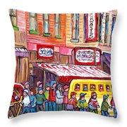 Schwartz's Smoked Meat Deli On The Main Montreal Hockey Art Scenes School Bus Painting C Spandau Art Throw Pillow