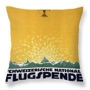 Schweizerische Nationale Flugspende - Flight Donation - Retro Travel Poster - Vintage Poster Throw Pillow