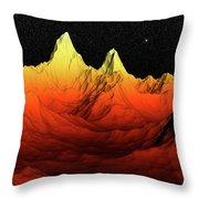 Sci Fi Mountains Landscape Throw Pillow