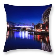 Science World And Fireworks Throw Pillow