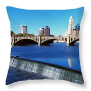 Scioto River With Waterfall Throw Pillow