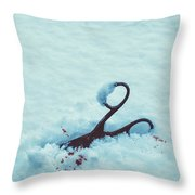 Scissors In Snow  Throw Pillow