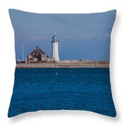 Scituate Lighthouse From Across The Harbor Throw Pillow