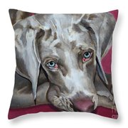 Scooby Weimaraner Pet Portrait Throw Pillow