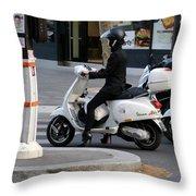 Scooter Girl Paris 1 Throw Pillow