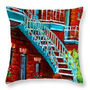 Scooter Ride Along Coloniale Street Throw Pillow