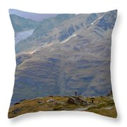 Scoping The Alps Throw Pillow