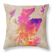 Scotland Map Throw Pillow