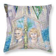 Scott And Zelda In Their New York Dream Tower Throw Pillow