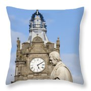 Scott Statue And Balmoral Clock Tower Throw Pillow