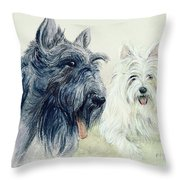 Scottie And Westie Throw Pillow