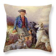 Scottish Boy With Wolfhounds In A Highland Landscape Throw Pillow by James Jnr Hardy