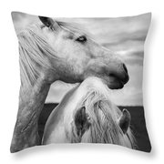 Scottish Horses Throw Pillow by Diane Diederich