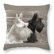 Scottish Terrier Dogs In Sepia Throw Pillow