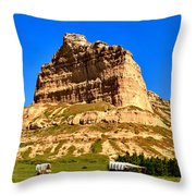 Scotts Bluff National Monument Panorama Throw Pillow