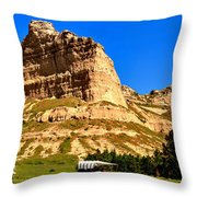 Scotts Bluff National Panoramic Landscape Throw Pillow
