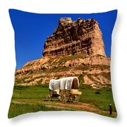 Scotts Bluff Wagon Train Panorama Throw Pillow