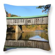 Scotts Covered Bridge West River Throw Pillow