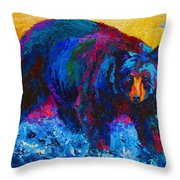 Scouting For Fish - Black Bear Throw Pillow