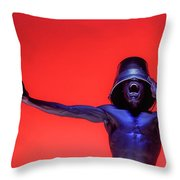 Screaming Dancer On Red Throw Pillow