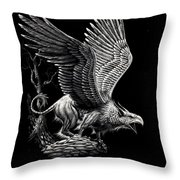 Screaming Griffon Throw Pillow